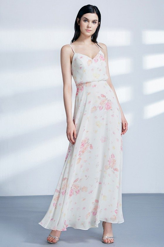 Floral Printed Chiffon Long Party Dress For Girls