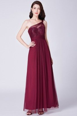 Burgundy One Shoulder Long...