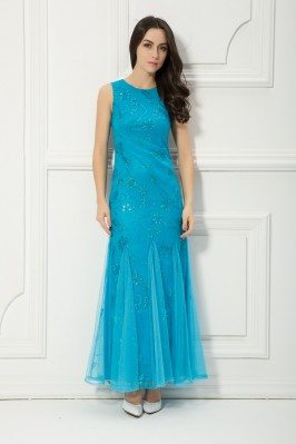 Blue Sequins Long Tulle Party Dress