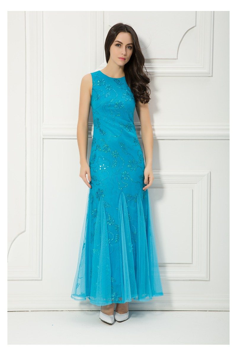 Blue Sequins Long Tulle Party Dress - $69 #CK401 - SheProm.com