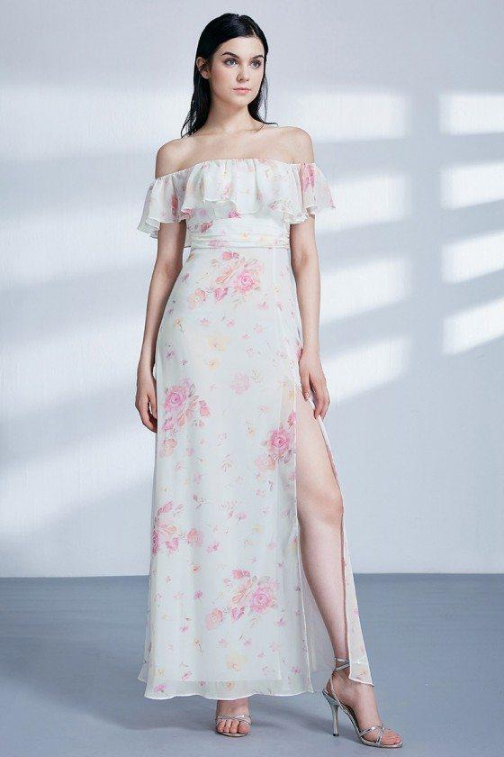 Flower Printed Chiffon Long Slit Bridesmaid Dress Off The Shoulder