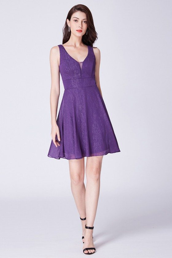 Short Purple Cocktail V Neck Bridesmaid Dress With Open Back