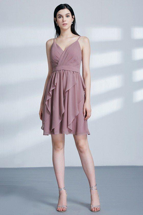 Short Pleated Purplish Pink Bridesmaid Dress With Ruffles