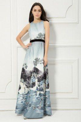 Printed Drawing Sleeveless Long Dress