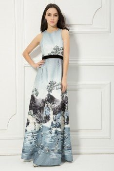 Printed Drawing Sleeveless Long Dress