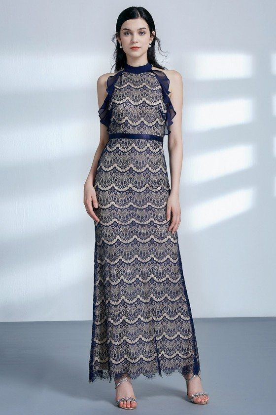 Open Back Navy Blue Long Sleeveless Lace Evening Dress With Halter Neck