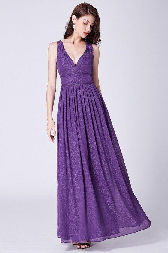 Flowing Chiffon Purple Long Sweetheart Prom Evening Dress