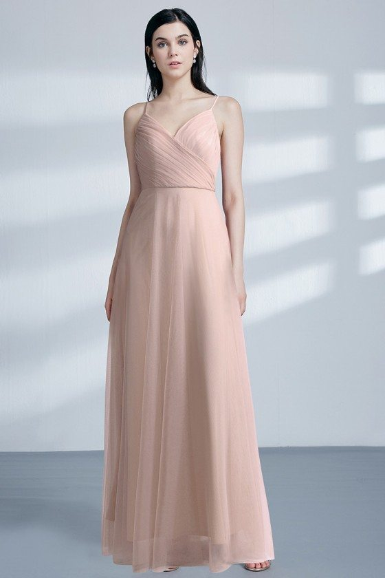 Blush Long Pleated Chiffon Bridesmaid Dress With Sweetheart Neck