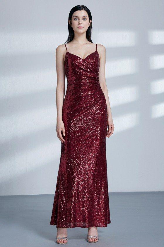Glitter Sequin Burgundy Long Tight Evening Dress For Women
