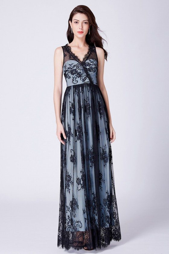 Floral Printed Black Lace Illusion Long V Neck Party Dress