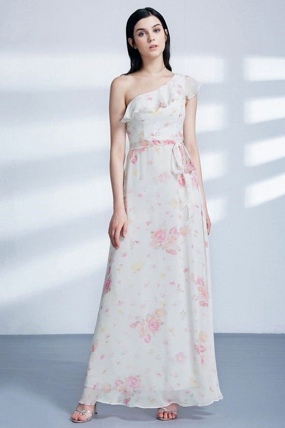 One Shoulder Ruffles Printed Flower Long Formal Dress For Wedding Party