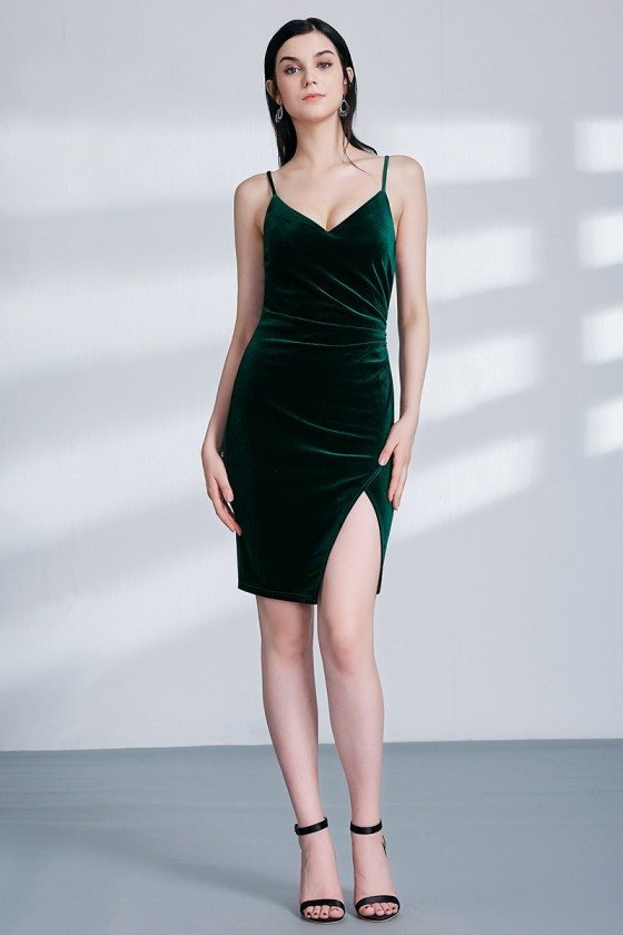 Dark Green Velvet Short Pleated Bridesmaid Dress With Split Front
