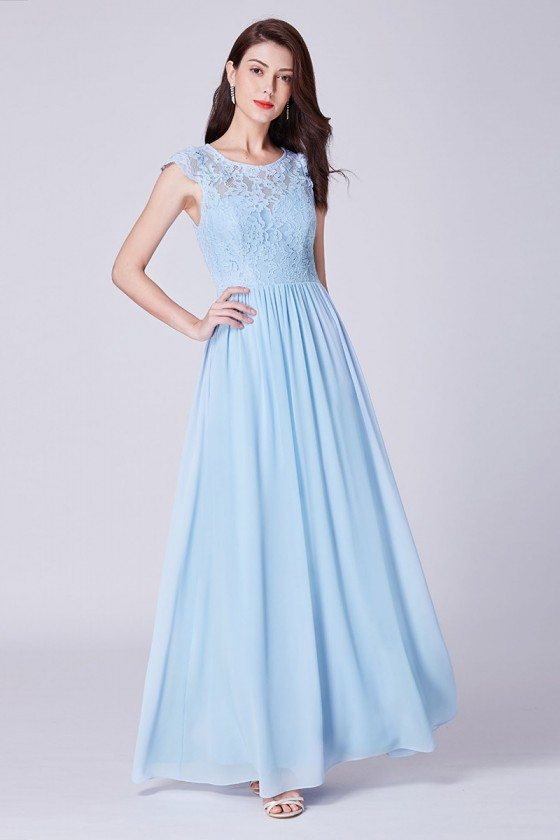 Sky Blue Long Chiffon Formal Bridesmaid Dress With Lace Bodice