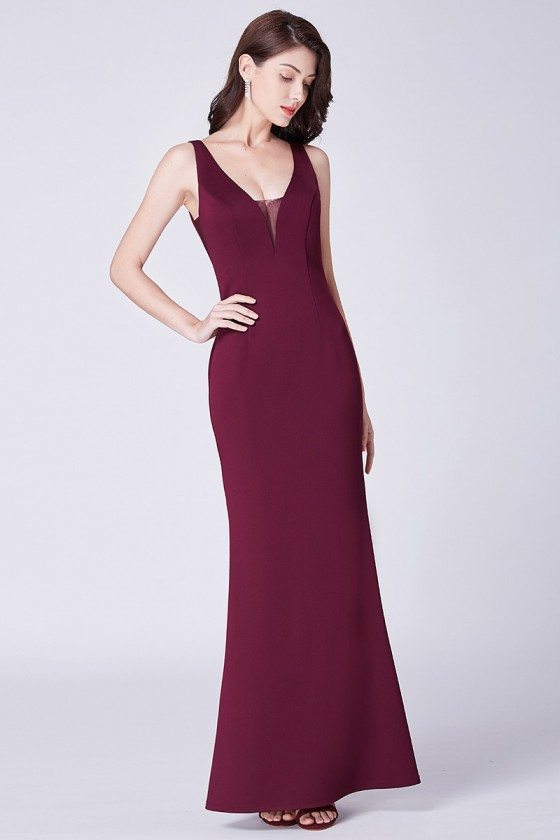 Simple Mermaid Burgundy Fitted Long Evening Dress With Deep V Neck