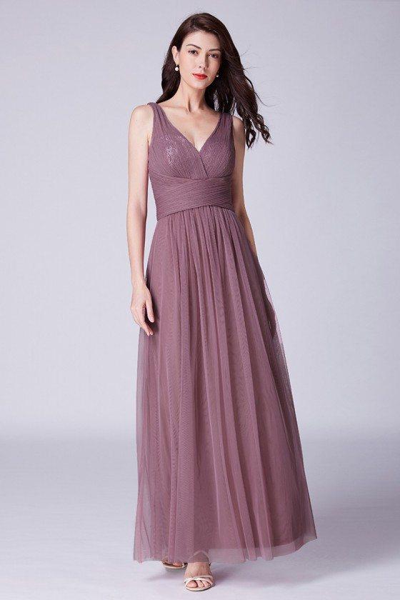Elegant Long Purplish Pink Tulle Pleated Bridesmaid Dress