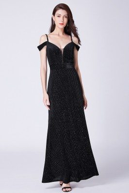 Sparkly Pleated Black Long...