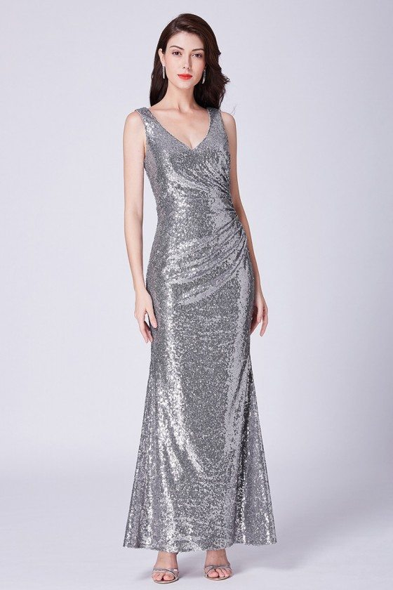 Silver Long Sparkly Sequin Formal Dress For Wedding-guest Party