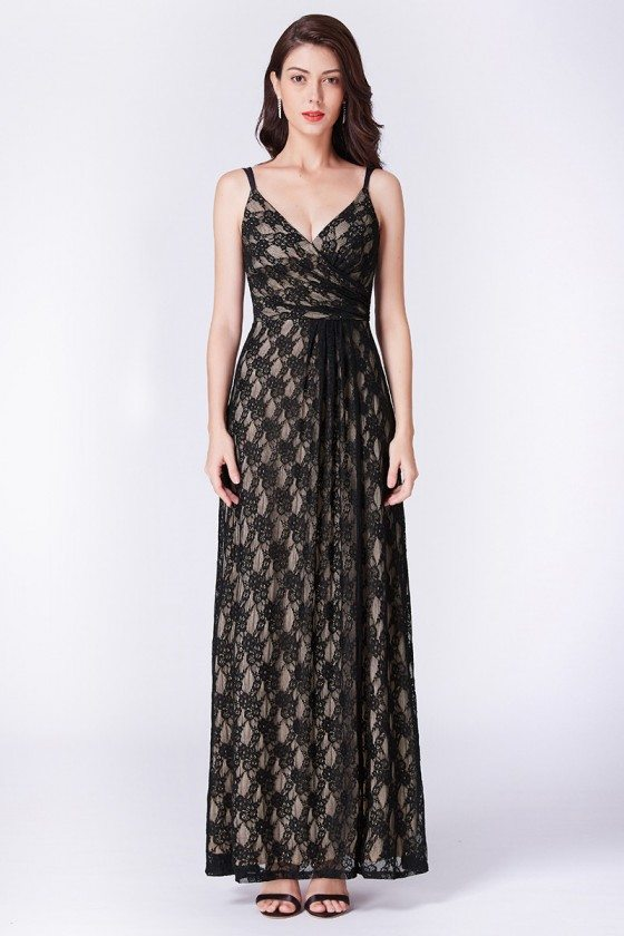 Empire-waist Black Lace Long Formal Dress With Sweetheart Neck