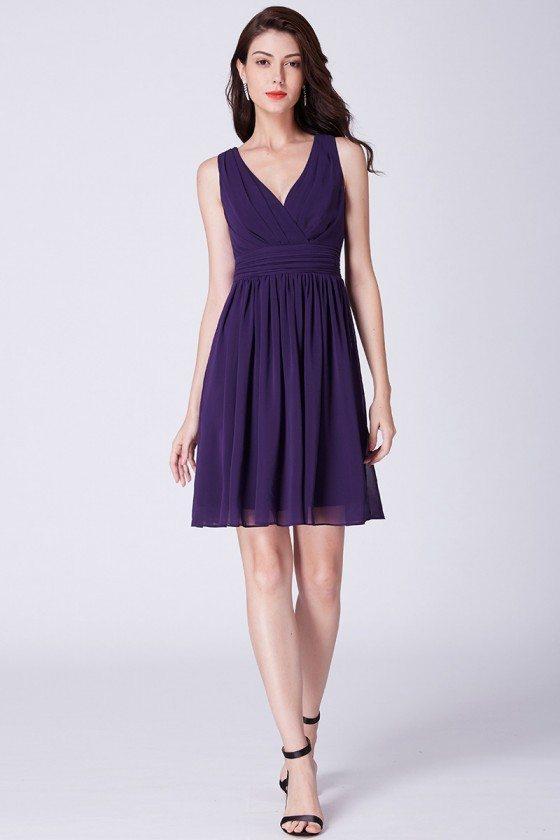 Short Purple Pleated Chiffon Bridesmaid Dress For Wedding Party