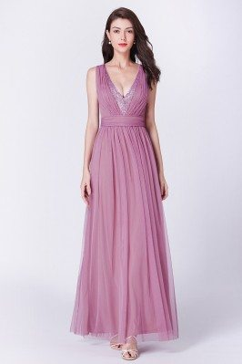 Unique Pink Pleated Long...