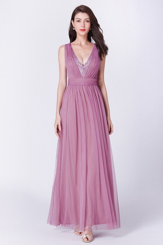 Unique Pink Pleated Long Formal Dress With Sequin Deep V-neck