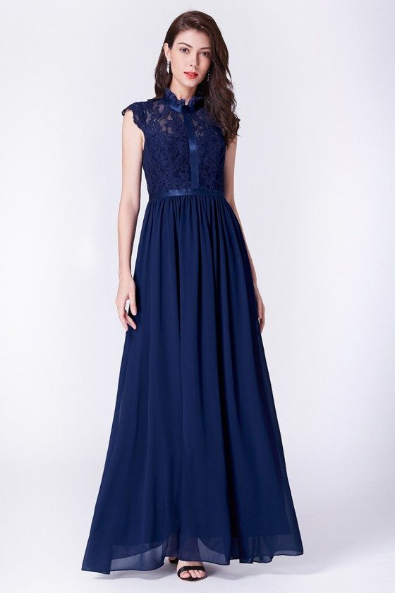 Modest Cap Sleeve Navy Blue Chiffon Long Evening Dress With Lace Top