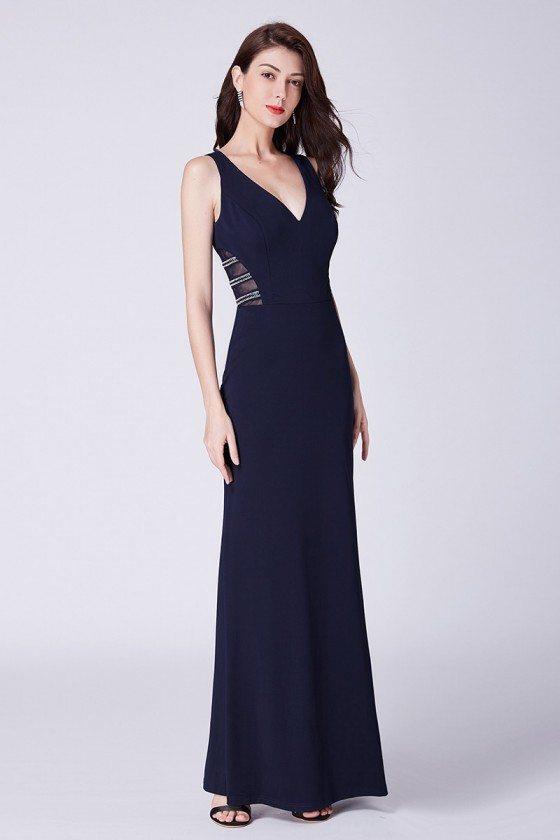 Sexy Long Navy Blue V-neck Mermaid Evening Dress