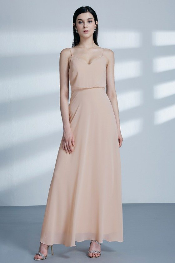Simple Long Champagne Chiffon Bridesmaid Dress With Spaghetti Straps