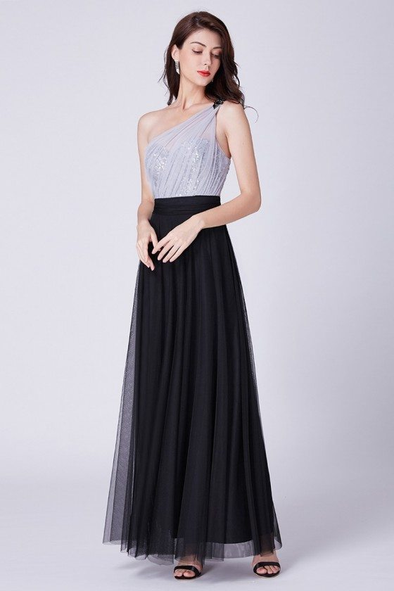 Single Shoulder Sequined Floor Length Bridesmaid Dress Black And Lilac