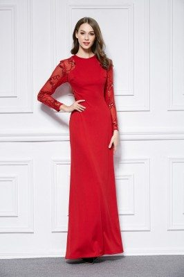 Sequin Embroidery Sheer Long Sleeve Long Formal Dress