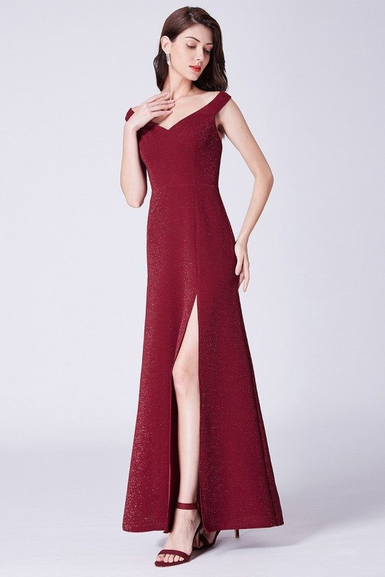 Simple Burgundy Sweetheart Long Formal Dress With Slit Front