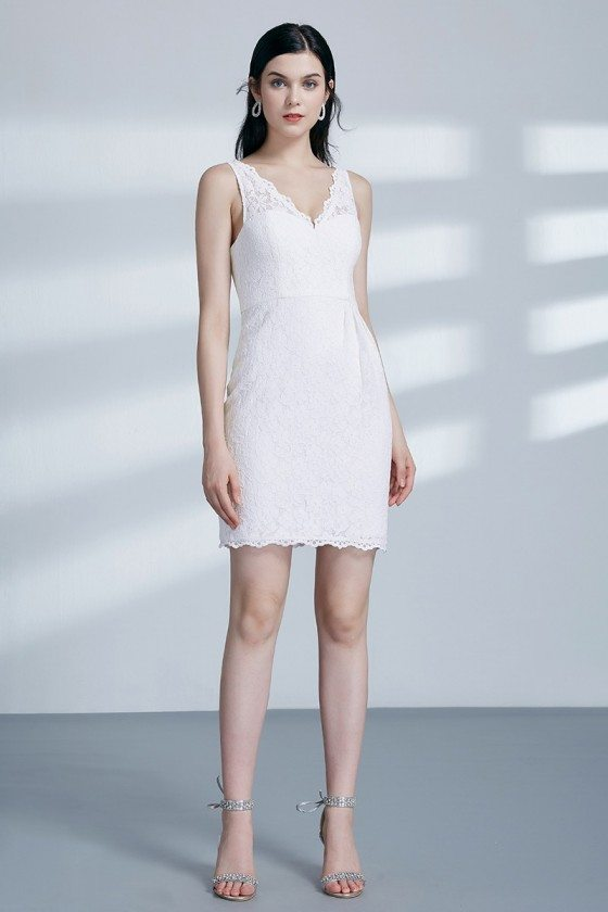 White Short Cocktail All Lace Party Dress With V Neck