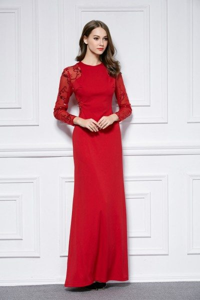 Sequin Embroidery Sheer Long Sleeve Long Formal Dress 92 Ck440