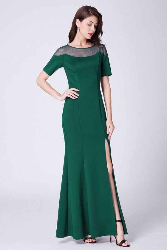 Fitted Green Long Split Evening Dress With Short Sleeves