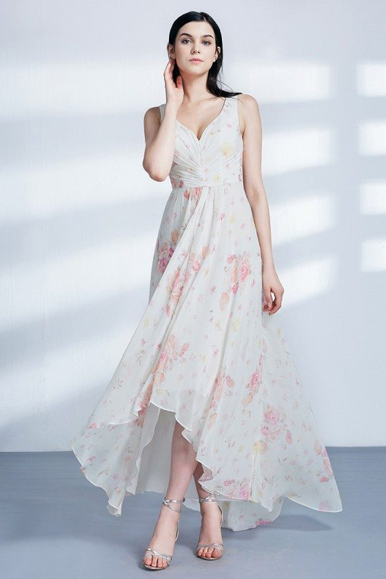 Elegant Floral Print Chiffon Hi-lo Prom Dress With Sweetheart Neck