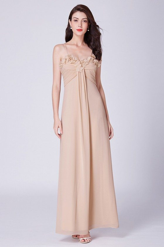 Champagne Long Pleated Petal Chiffon Bridesmaid Dress With Sweetheart Neck