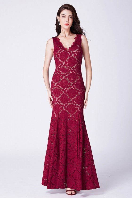 Burgundy All Lace Long Mermaid Fitted Formal Dress With Sweethart Neck