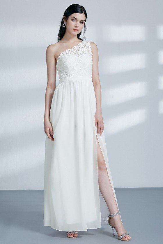 One Shoulder Long Slit White Evening Dress With Lace Bodice