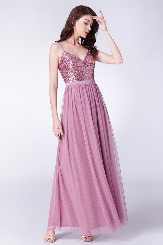 Sparkly Sequin Long Pink Formal Party Dress With Open Back
