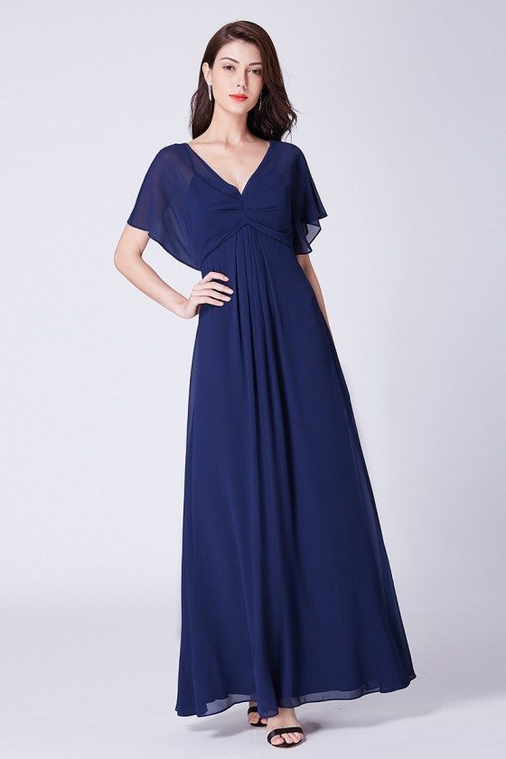 Navy Blue Simple Chiffon Formal Bridesmaid Dress With Bat-sleeves