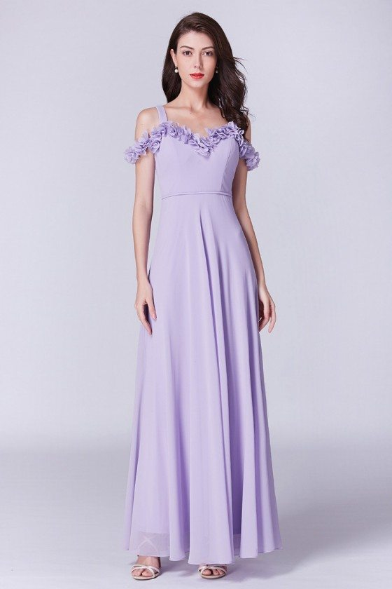 Off The Shoulder Lavender Long Chiffon Bridesmaid Dress With Petal Neckline