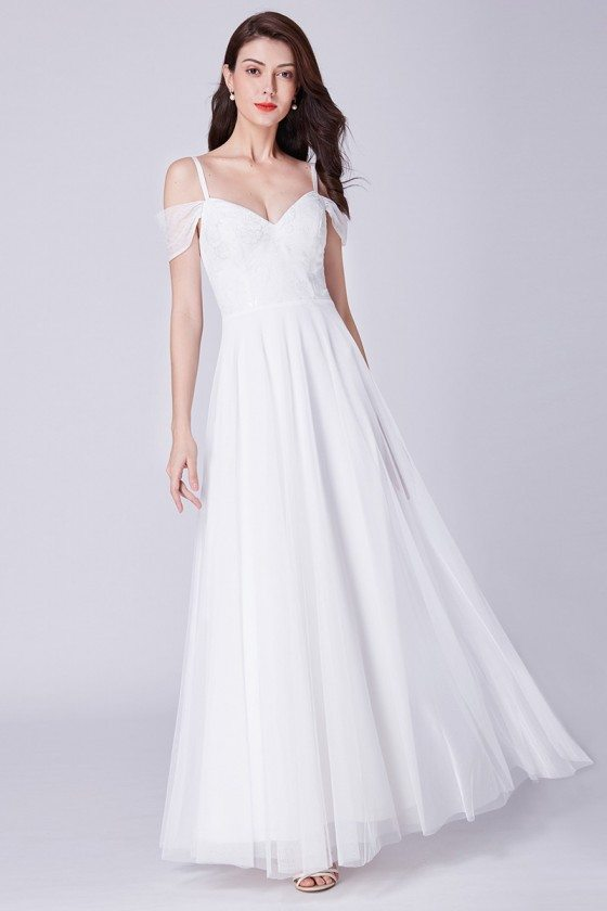 Off Shoulder Long White Tulle Formal Party Dress With Lace