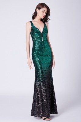 Sparkly Sequined Long Green...