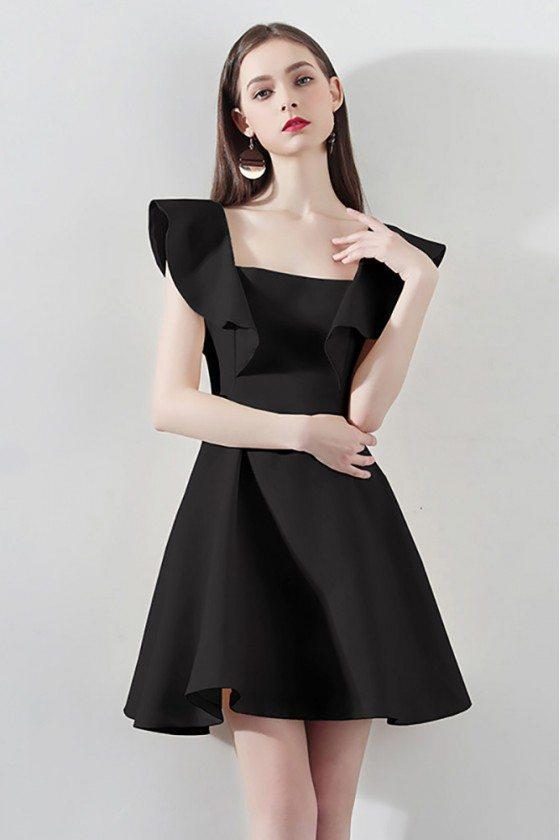 Little Black Square Neck Aline Party Dress For Semi Formal