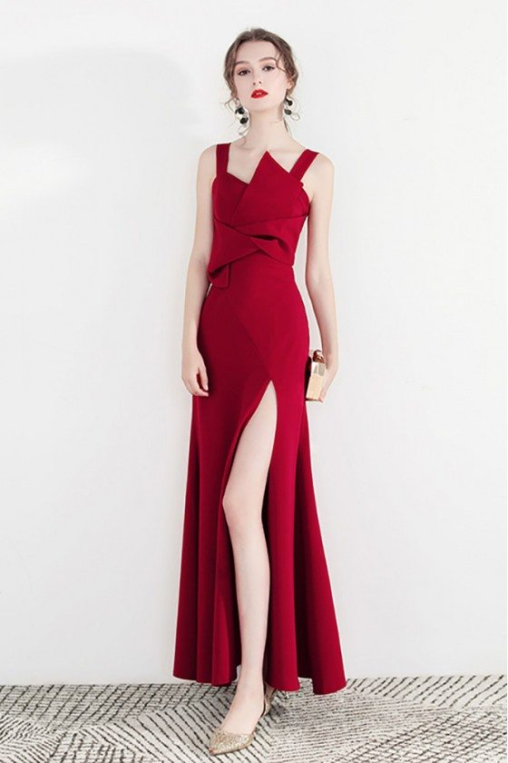 Formal Long Red Party Dress With Side Slit Straps