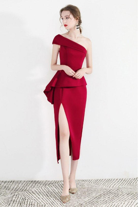 Sexy Red One Shoulder Formal Party Dress With Side Slit