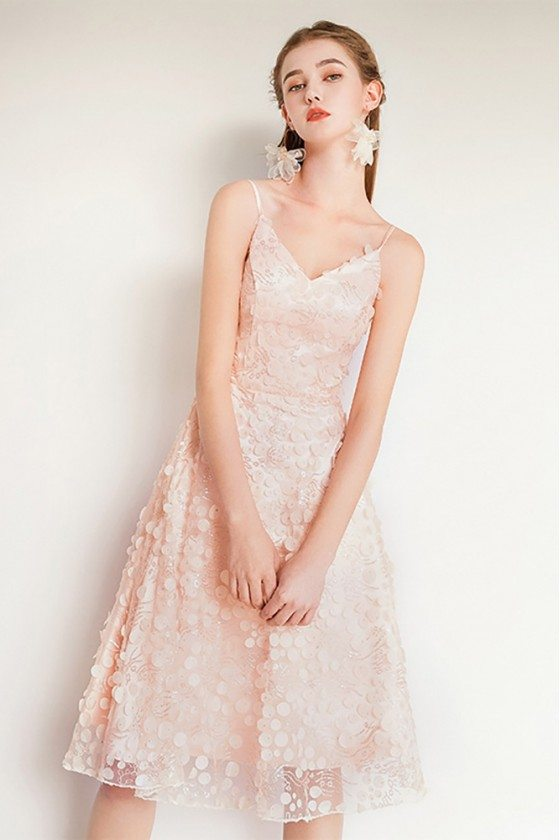 Nude Pink Beaded Lace Cute Party Dress With Spaghetti Straps
