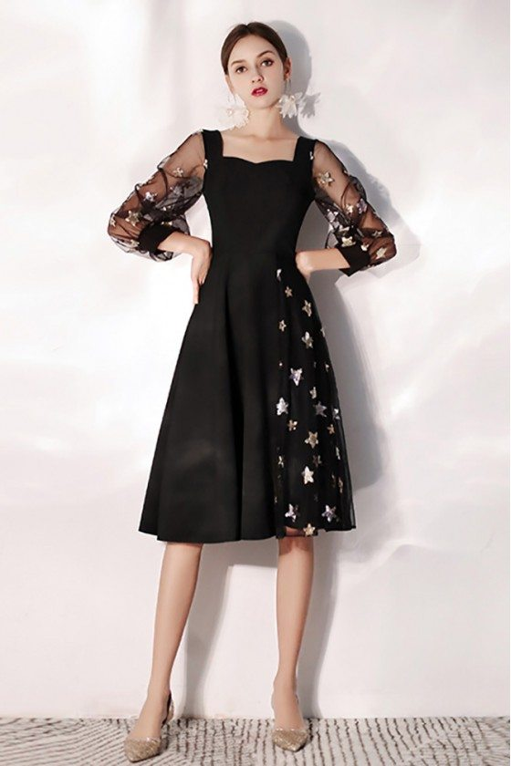 Black Slim Aline Party Dress With Stars Bubble Sleeves