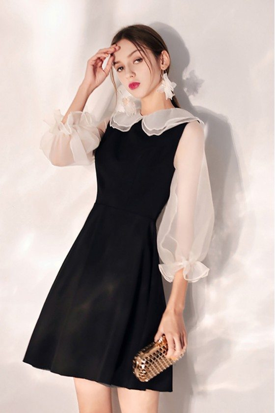 Little Black Short Party Dress With Cute Baby Collar Bubble Sleeves