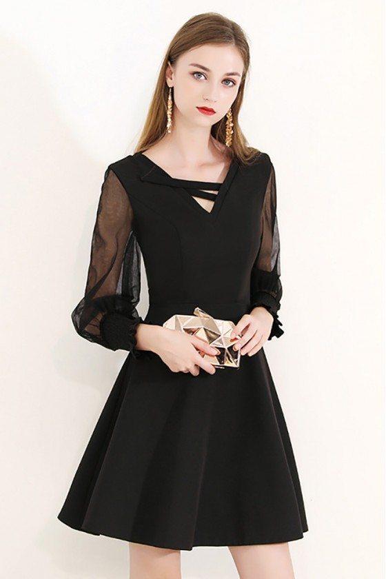 Gorgeous Bubble Long Sleeve Black Party Dress Semi Formal